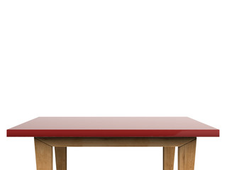 empty red top table on white background