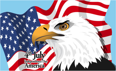 Happy fourth of july America, independence day card, with a big eagle and flag. Digital vector image