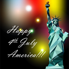Fourth of july independence day card, with statue of liberty and fireworks. Digital vector image