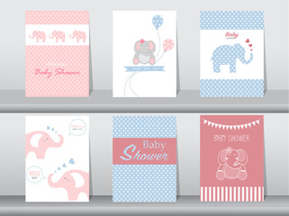 Set of baby shower invitation cards,poster,template,greeting cards,animal,elephant,Vector illustrations