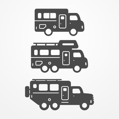 Set Of Camping Trailer Icons Travel Symbols In Silhouette