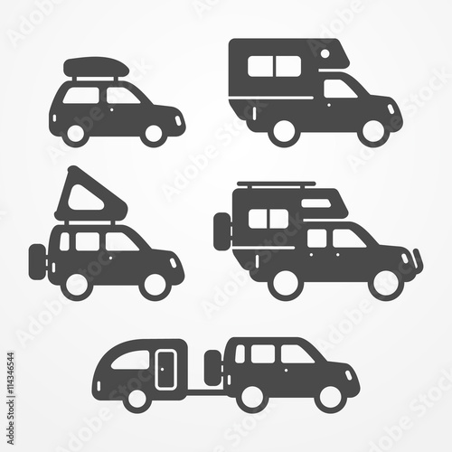 Set Of Camping Car Icons Travel Car Symbols In Silhouette Style