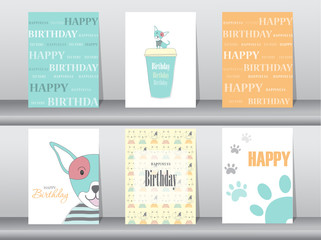 Set of birthday cards,poster,template,greeting cards,animals,dog,Vector illustrations