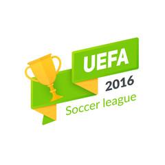 UEFA Euro 2016 badge isolated on white.