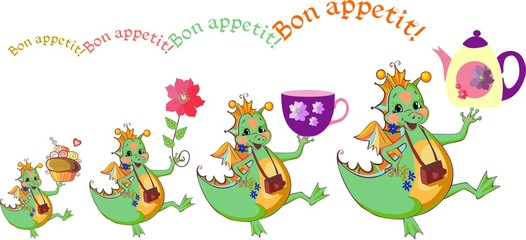 Happy dragons wish bon appetit. Beautiful card with dragons, teapot, cup, flower and cupcake. Vector illustration.