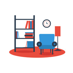 bookshelf armchair interior design