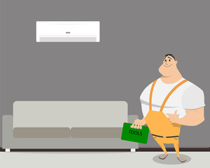Worker standing in the room in which installed a new air conditioner. Vector illustration
