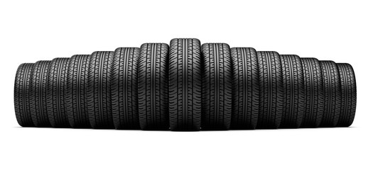 set of tires standing in a row