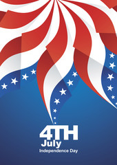 4th July Independence Day ribbon flag background vector