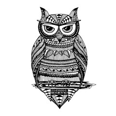 Owl painted in Zentangle style. Sketch freehand drawing. Doodle. Vector graphics