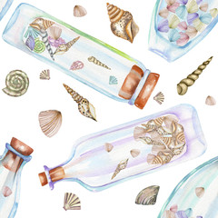 Seamless pattern with florariums, watercolor bottles with sea shells inside, hand drawn isolated on a white background