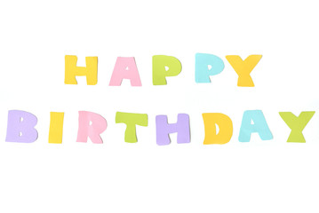 Happy birthday text on white background - isolated