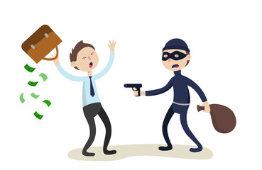 The robber threatens with a gun to businessman. Crime concept. Flat illustration.