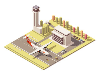 Vector isometric minimalistic low poly airport terminal building with control tower and propeller airplane landing