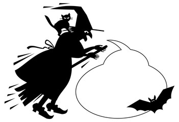 Wall Mural - Silhouette of a witch flying on broom with empty speech bubbles.Vector clip art.
