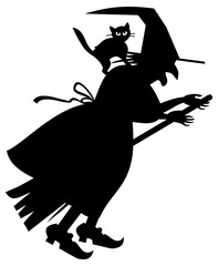 Silhouette of a witch flying on broom. Vector clip art.
