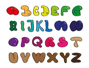 Kinderzeichnung ABC Regenbogen Bubbles