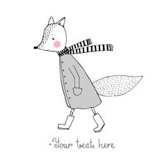 Sad cartoon fox