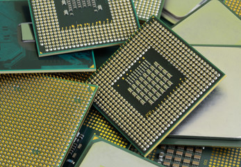 Close up of many different cpu processors