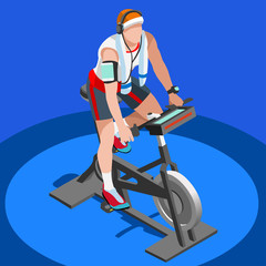 Exercise Bike Spinning Fitness Class.3D Flat Isometric Spinning Fitness Bike. Gym Class Working Out Cycling Indoor Exercise Bike Gym Cycling Fitness Equipment. Gym Bike for Cycling Vector Image