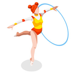 Olympics Rhythmic Gymnastics Hoop Summer Games Icon Set.3D Isometric Gymnast.Sporting Championship International Competition.Olympics Sport Infographic Rhythmic Gymnastics Vector Illustration