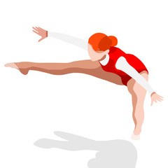 Trampolining Gymnastics Summer Games Icon Set.3D Isometric Gymnast.Sporting Championship International Competition.Olympics Sport Infographic Gymnastics Vector Illustration