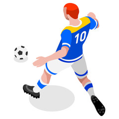 Russia 2018 Soccer Striker Player Athlete Sports Icon Set.3D Isometric Field Soccer Match and Players.Sporting International Competition Championship.Olympics Sport Soccer Infographic Football Vector