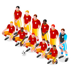Russia 2018 Soccer Team Players Athlete Sports Icon Set. 3D Isometric Soccer Match Team Players. Sporting International Competition Championship. Sport Soccer Infographic Football Vector Illustration