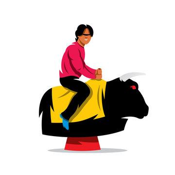 Vector Bull Ride Cartoon Illustration.