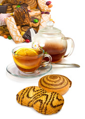 image of cup of tea and cookies closeup