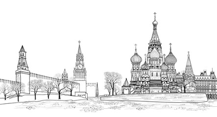 Red square view, Moscow, Russia. Travel Russia background. Famous building cityscape vector sketching illustratation