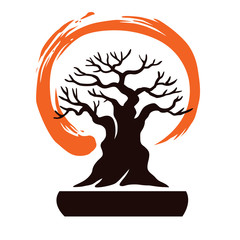 Japan Bonsai with Zen Symbol Vector