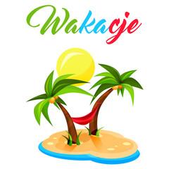 Wakacje - palmy - ilustracja