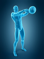 medically accurate 3d illustration of an athlete with kettle