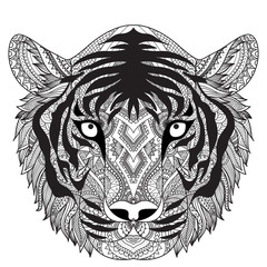 Clean lines doodle design of tiger face, for T-Shirt graphic, tattoo, coloring book for adult and so on -Stock vector