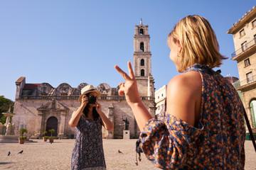 Female Tourism In Cuba Women Friends Taking Photo
