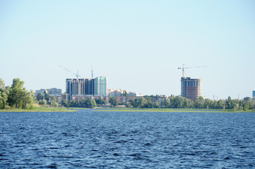 A construction of new houses on the river bank