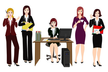 Office workers characters. Women in business clothes.