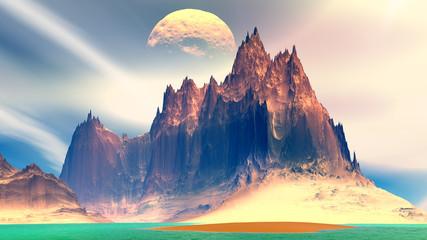 Fantasy alien planet. Rocks and lake. 3D illustration
