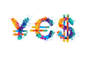 "Word ""Yes"" of currency symbols - yen, euro, dollar"
