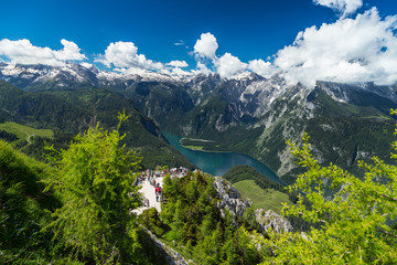 View from tof of Jenner mountain in the bavarian alps / Blick vom Gipfel des Jenner auf den Königssee