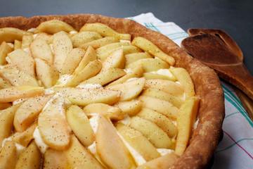 Tasty apple pie on dish. Close up.