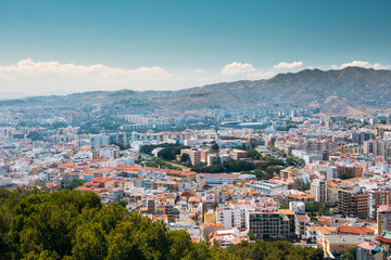 Cityscape Of Malaga, Spain. Residential Houses