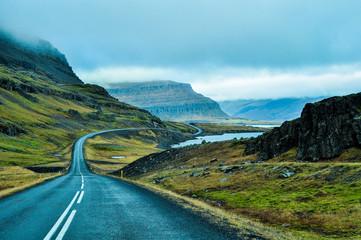 Tuinposter Scandinavië winding road the ocean shores in Iceland