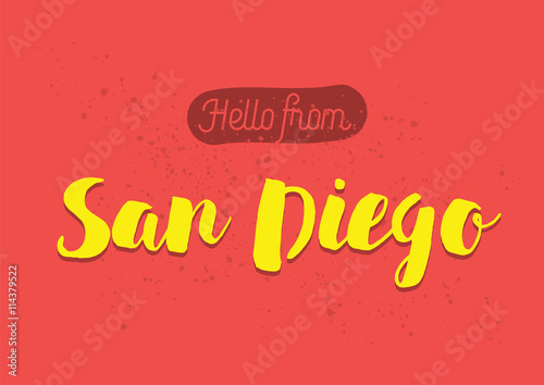 Hello from san diego america greeting card with lettering design hello from san diego america greeting card with lettering design m4hsunfo