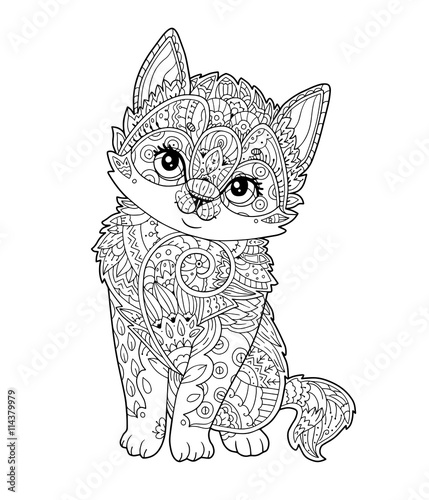 Sitting Kitten In Zentangle Style In Vector Hand Drawn Sketch