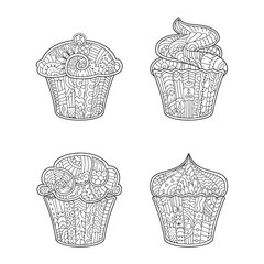 Vector decorative cupcake in zentangle style for adult coloring book. Zen art. Outline illustration on white background.