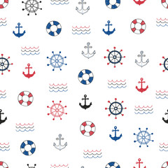 Nautical seamless pattern. Vector background with doodle marine symbols.