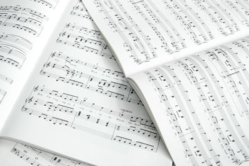 Detail of piano score in black and white