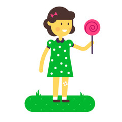 Vector illustration of little girl with lollipop.